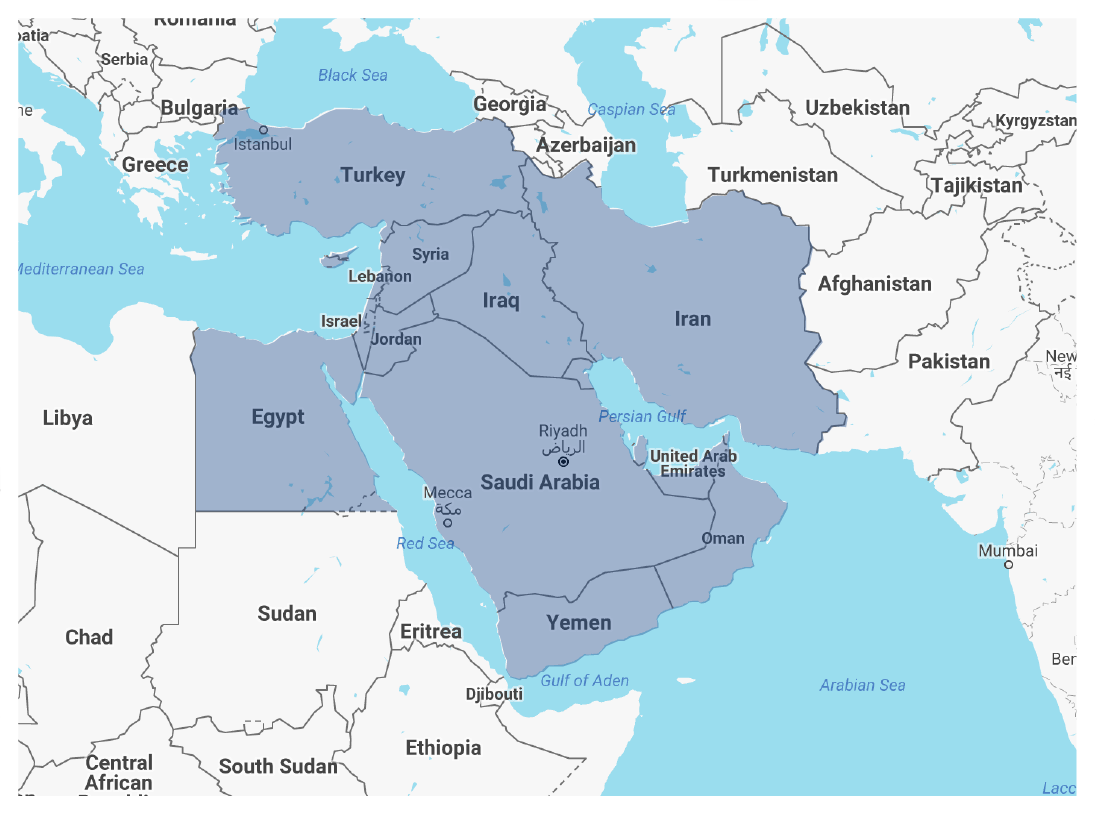 Greater Middle East & Levant map picture