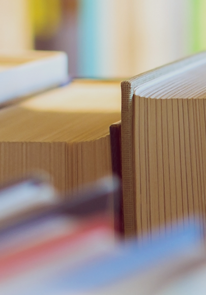 A close-up photo of a few books