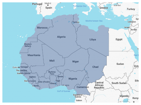 Map of North Africa Sahel